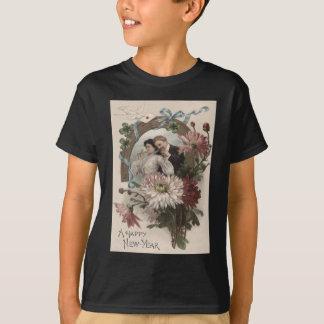 カップルのシャンペンのデイジーの鳩4の葉のクローバー Tシャツ