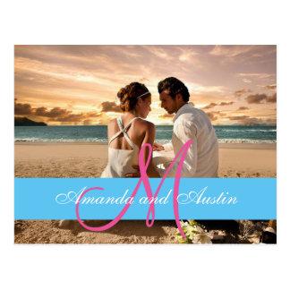 カップルのビーチ愛人間関係か結婚式招待状 ポストカード