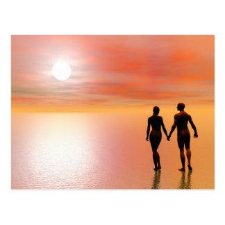 カップルのロマンス- 3Dは描写します ポストカード