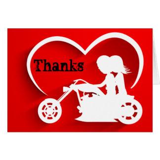 カップルの乗馬のオートバイの感謝は感謝していしています ノートカード