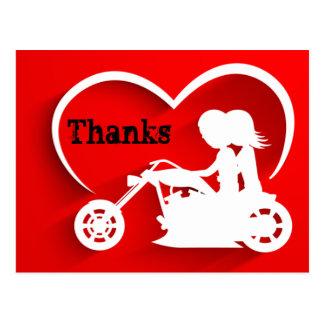 カップルの乗馬のオートバイの感謝は感謝していしています ポストカード