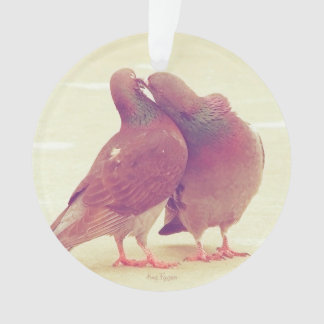 カップルの写真に接吻しているレトロハト愛鳥 オーナメント