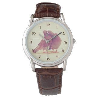 カップルの写真に接吻しているレトロハト愛鳥 腕時計