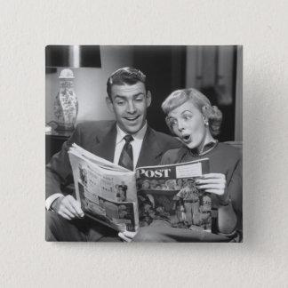 カップルの読書雑誌 缶バッジ
