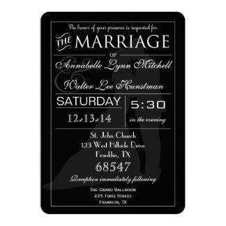 カップルの黒く及び白い招待状を結婚するタイポグラフィ カード
