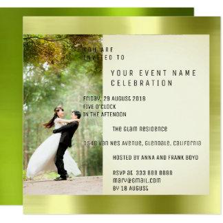 カップルのFotoの幾何学の緑の草木のCaliの金属ミント カード