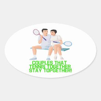 カップル一緒のそのテニス 楕円形シール