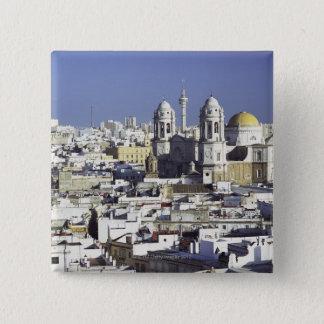 カディス、スペインの都市景観 5.1CM 正方形バッジ
