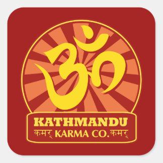カトマンズのニューエイジおよび仏教Omの記号 スクエアシール