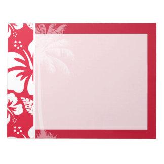 カドミウムの赤い熱帯ハイビスカス; やし ノートパッド