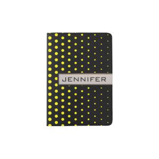 カドミウム黄色の水玉模様のモダンの黒 パスポートカバー