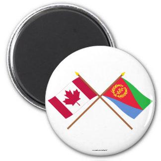 カナダおよびエリトリアによって交差させる旗 マグネット