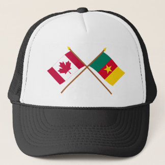 カナダおよびカメルーンによって交差させる旗 キャップ