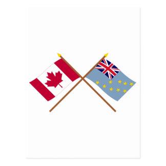 カナダおよびツバルによって交差させる旗 ポストカード