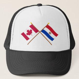 カナダおよびパラグアイによって交差させる旗 キャップ