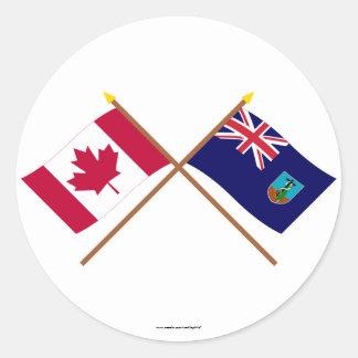 カナダおよびモンセラートによって交差させる旗 丸形シールステッカー