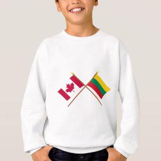 カナダおよびリスアニアによって交差させる旗 スウェットシャツ