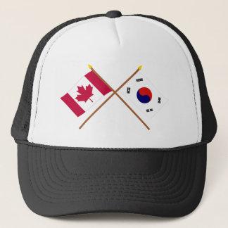 カナダおよび南朝鮮の交差させた旗 キャップ