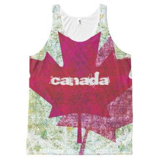 カナダのアメリカハナノキの葉の旗 オールオーバープリントタンクトップ