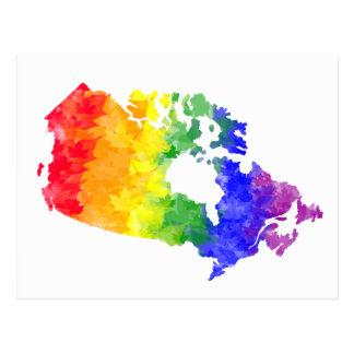 カナダのカエデの葉の虹のプライドの郵便はがき ポストカード