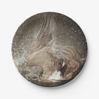 カナダのガチョウ強く打つ水写真芸術 ペーパープレート