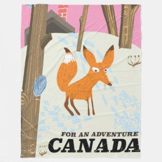 カナダのキツネのヴィンテージ旅行ポスター フリースブランケット