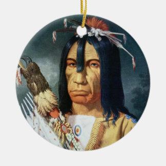 カナダのクリー族の人々のネイティブアメリカンの責任者 セラミックオーナメント