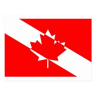 カナダのスキューバダイバーの旗 ポストカード