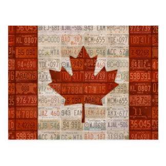 カナダのナンバープレートの芸術の旗 ポストカード