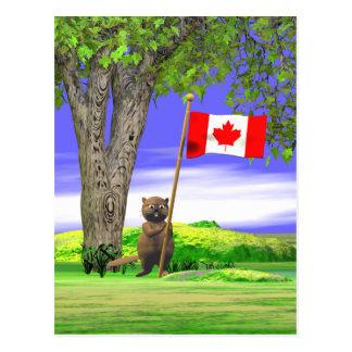 カナダのビーバーおよび旗 ポストカード