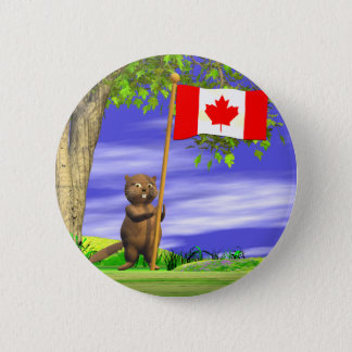 カナダのビーバーおよび旗 5.7CM 丸型バッジ