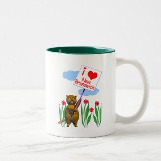 カナダのビーバーはニューブランズウィックを愛します ツートーンマグカップ