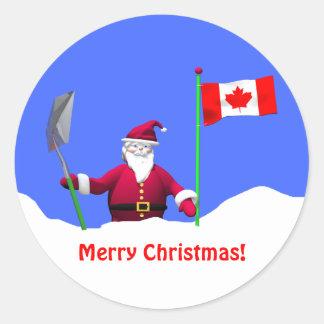 カナダのメリークリスマスサンタ ラウンドシール