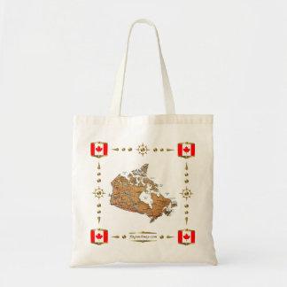 カナダの地図 + 旗のバッグ トートバッグ