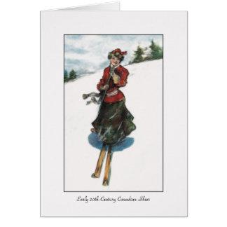 カナダの女性のスキーヤー-ヴィンテージ カード