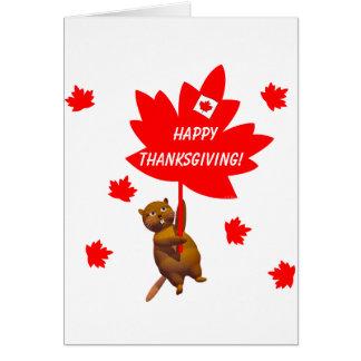 カナダの感謝祭のビーバーおよびかえでの葉 カード