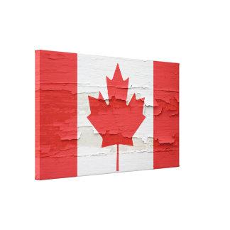 カナダの旗によって風化させるペンキ キャンバスプリント