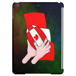 カナダの旗のカエデの葉のラグビーのボール