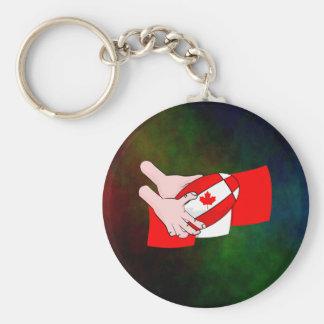 カナダの旗のカエデの葉のラグビーのボール キーホルダー