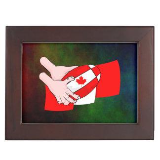 カナダの旗のカエデの葉のラグビーのボール ジュエリーボックス