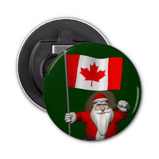 カナダの旗を持つサンタクロース 栓抜き