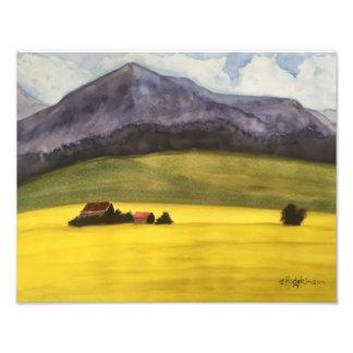 カナダの西部の草原-水彩画 フォトプリント