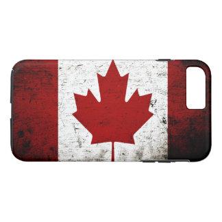 カナダの黒くグランジな旗 iPhone 8 PLUS/7 PLUSケース
