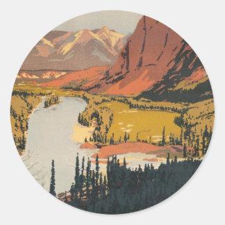 カナダ人のロッキー山脈旅行ポスターステッカー ラウンドシール