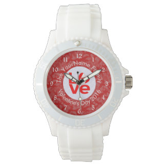 カナダ愛赤い背景の白の円 腕時計