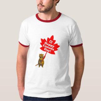 カナダ日のビーバーおよびカエデの葉 Tシャツ