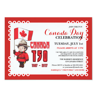 カナダ日150 BBQのお祝いの招待状 カード