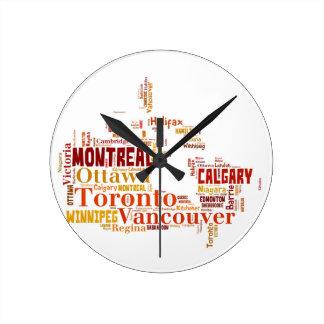 カナダ都市単語の芸術 ラウンド壁時計