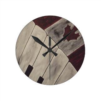 カナダ音楽ノート ラウンド壁時計
