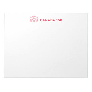 カナダ150の役人のロゴ-横の赤い輪郭 ノートパッド